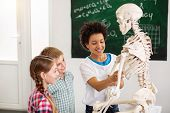 At The School Break. Happy Nice Children Playing With A Skeleton While Having A School Break poster