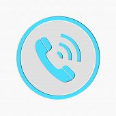 Phone Call Vector Icon. Style Is Flat Rounded Symbol, Blue Color, Rounded Angles, White Background.  poster
