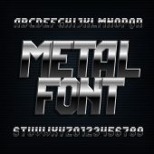 Metal Alphabet Font. Chrome Effect Oblique Letters, Numbers And Symbols. Stock Vector Typeset For Ty poster