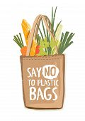 Textile Eco Friendly Reusable Shopping Bag Full Of Vegetables And Other Products With Inscription Sa poster