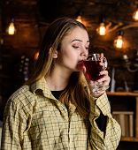 Lady Enjoy Mulled Wine In Warm Atmosphere, Wooden Interior. Girl On Relaxed Face In Plaid Clothes Re poster
