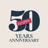 50 Years Anniversary Vector Logo, Icon. Template Design Element, Symbol With Number For 50th Anniver poster