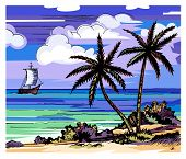 Palm Trees And Sea Vector Color Sketch. Evening Beach. Two Lonely Palms On The Shore. Coconuts. Clou poster