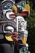 stock photo of indian totem pole  - Totem Poles at Stanley Park Vancouver B - JPG
