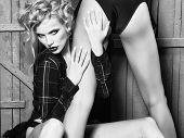 Sensual Woman Body. Sexual Attractive Sensual Couple Of Blond Woman With Long Curly Hair And Back Vi poster