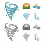 Tornado, Sunrise, Cloudiness, Snow And Frost. The Weather Set Collection Icons In Cartoon, Monochrom poster