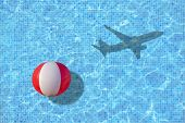 Vacation Ends Ball Is Left In Pool And Shadow Of Leaving Airplane Takes Off Concept For Back To Work poster