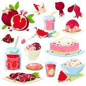 Pomegranate Vector Fresh Fruity Food Dessert Ice Cream Or Cake With Garnet And Sweet Fruit Of Pomegr poster