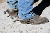 image of buckaroo  - Well Worn Working Cowboy Western Boot With Buckaroo Spurs - JPG