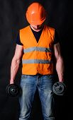 Worker, Contractor, Builder On Busy Face With Muscular Biceps. Strong Builder Concept. Builder In He poster