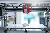 Brand New Model. The Close Up Of A State-of-the-art 3d Printer Creating A New 3d Model While Standin poster