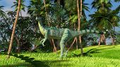 pic of dilophosaurus  - dilophosaurus in jungle - JPG