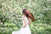 Spring Mood, Beautiful Woman Smell Flowering Tree, Enjoying Nature, White Floral Garden. Beautiful W poster