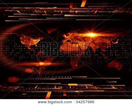 Постер, плакат: Технологические планеты, холст на подрамнике