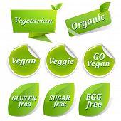 Vegan Food Symbols, Isolated On White Background, Vector Illustration