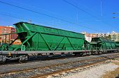 stock photo of boxcar  - freight cars in the railway - JPG