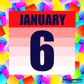 January 6 Icon. For Planning Important Day. Banner For Holidays And Special Days. January Sixth. Vec poster