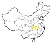 Map Of China, Hubei Highlighted