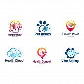 Set Of Head Health, Brain Health Symbol, Animal, Health Point Logo, Cloud Logo, Health Consult Symbo poster