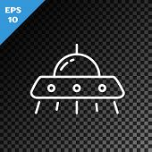 White Line Ufo Flying Spaceship Icon Isolated On Transparent Dark Background. Flying Saucer. Alien S poster