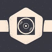 Grunge Vinyl Player With A Vinyl Disk Icon Isolated On Grey Background. Monochrome Vintage Drawing.  poster