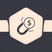 Grunge Magnet With Money Icon Isolated On Grey Background. Concept Of Attracting Investments. Big Bu poster