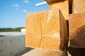 closeup of fresh cut wooden beam for country house construction