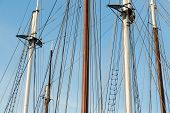 picture of big-rig  - Rigging of a big sailing ship against a blue sky - JPG