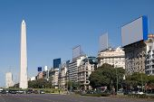 9 de Julio Avenue and The Obelisk a major touristic destination in Buenos Aires Argentina poster