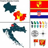 Vector Map Of Krapina Zagorje And Location On Croatian Map poster