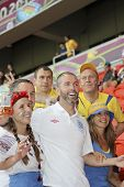 England Fan Between The Ukrainian Fans