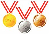 stock photo of gold medal  - Set of gold silver and bronze medals over white background - JPG