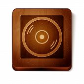 Brown Vinyl Player With A Vinyl Disk Icon Isolated On White Background. Wooden Square Button. Vector poster