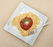 Spaghetti with a herb-flavoured tomato sauce, a traditional Italian dish known as Spaghetti Pomodoro, served with grated parmesan and a sprig of basil