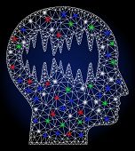 Glowing White Mesh Brain Waves With Glare Effect. Abstract Illuminated Model Of Brain Waves. Shiny W poster