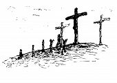 picture of golgotha  - an illustration of the crucifixion of Christ - JPG