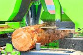 Lumber Is Produced From Large Logs, Pine Boards At A Modern Automatic Sawmill, Close-up. poster