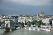 Danube river - panorama. Danube in Budapest Hungary. View of the Danube in Budapest. Embankment of D poster