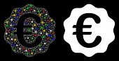 Glowing Mesh Euro Reward Seal Icon With Glitter Effect. Abstract Illuminated Model Of Euro Reward Se poster
