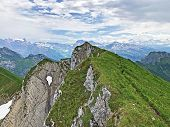 Alpine Peak Diethelm Above The Wagital Or Waegital Valley And Alpine Lake Wagitalersee (waegitalerse poster