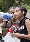 NEW YORK - JUNE 22: A member of Fierce, a group of primarily LGBTQ youth of color, speaks to support
