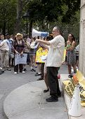 NEW YORK - JUNE 22: Jay Toole speaks to the audience of supporters in Washington Square Park during