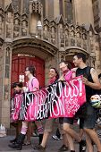 NEW YORK - JUNE 22: Supporters march past a church in Lower Manhattan during the 8th Annual Trans Da