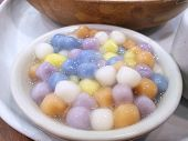 Thai Dessert Style, Selective Focus Of Rainbow Thai Glutinous Rice Balls In White Bowl, This Food Is poster
