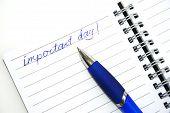 Blauwe Pen en nota boek