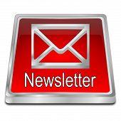 Red Newsletter Button On White Background - 3d Illustration poster
