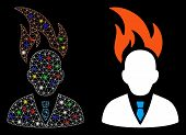 Glossy Mesh Burn Businessman Head Icon With Sparkle Effect. Abstract Illuminated Model Of Burn Busin poster