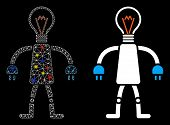 Glossy Mesh Lamp Head Robot Icon With Lightspot Effect. Abstract Illuminated Model Of Lamp Head Robo poster