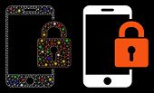Bright Mesh Smartphone Locked Icon With Sparkle Effect. Abstract Illuminated Model Of Smartphone Loc poster