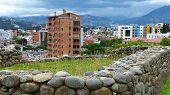 Panoramic View At City And Inca Ruins From The Archeological Complex Pumapungo In Cuenca City, Ecuad poster